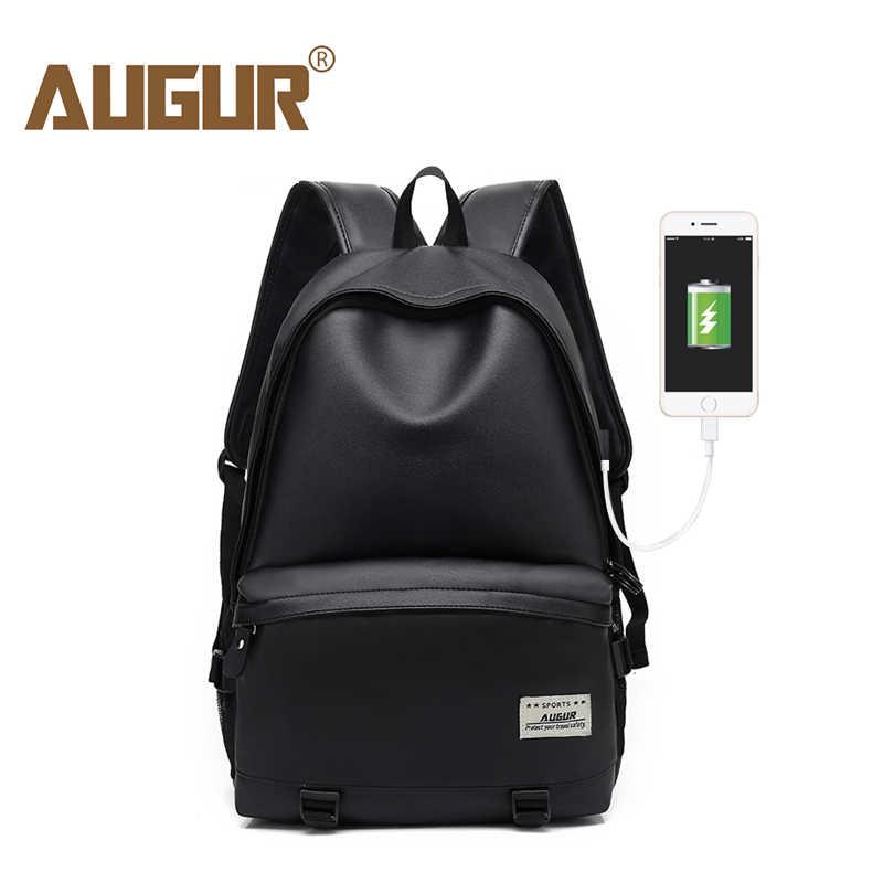 1054a73ab403 Augur мужская рюкзаки из искусственной кожи зарядка через usb путешествия  водостойкий 15,6 дюймов рюкзак
