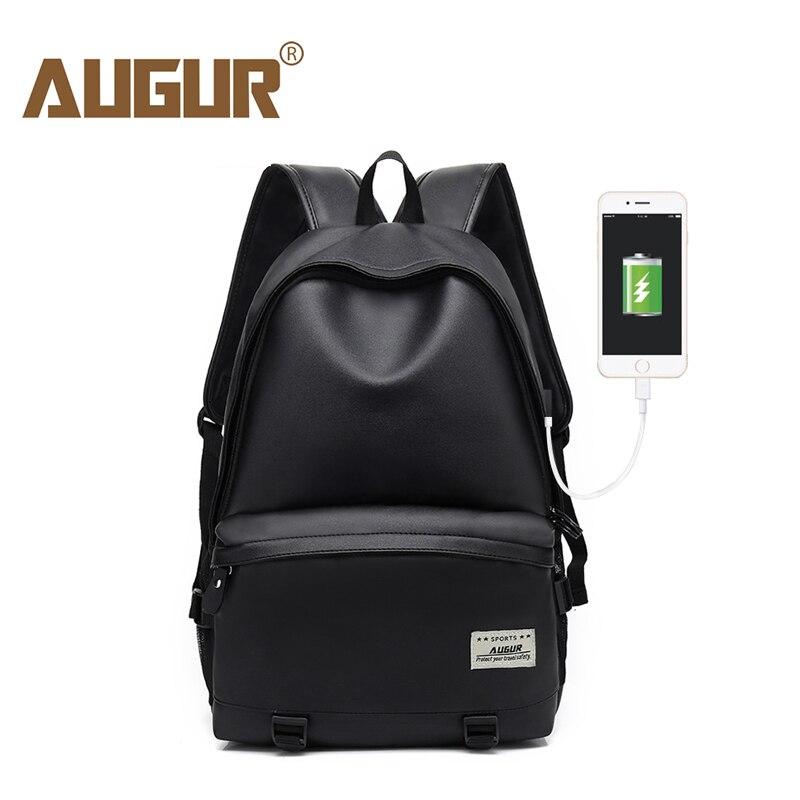 AUGUR Men Backpacks PU Leather USB Charging Travel Waterproof 15.6inch Laptop Back <font><b>pack</b></font> Teenager Student school Bagpack mochila
