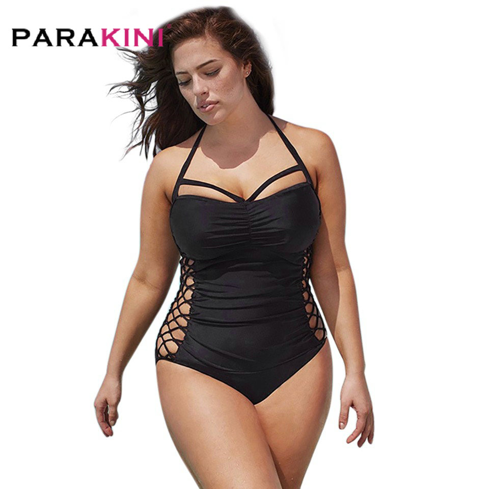 PARAKINI Plus Size One Piece Swimsuit 2017 New Arrival Halter Swim Suit Women Bathing Suits High Waist Swimwear Large Size 5XL one piece swimsuits trikinis high cut thong swimsuit sexy strappy monokini swim suits high quality denim women s sports swimwear