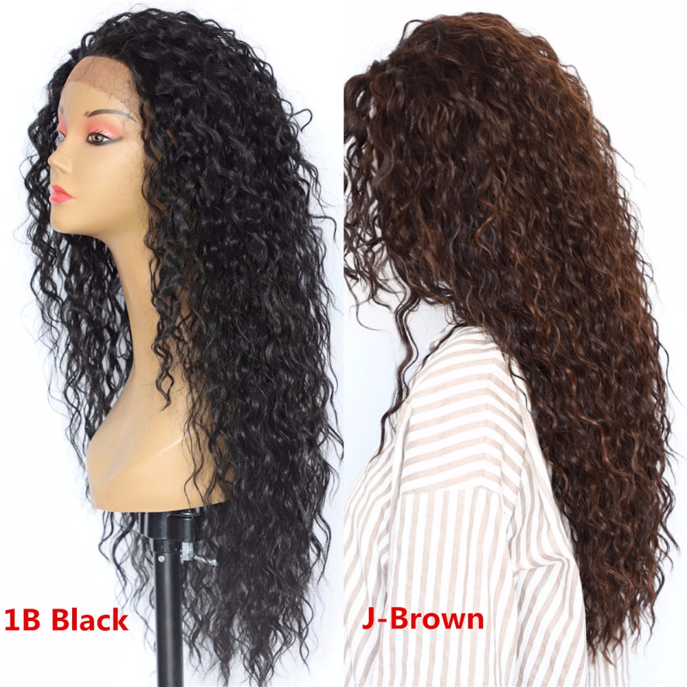 BeautyTown Kinky Curly Type Futura Heat Resistant Hair Black Color Women Daily Makeup Synthetic Lace Front Party Wigs-in Synthetic Lace Wigs from Hair Extensions & Wigs