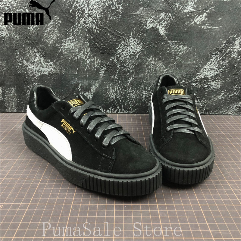 fd35c49768e PUMA Suede Platform FL Womens Trainers 364718 03 Sneakers Wn Badminton  Shoes Rihanna Thick Bottom Black Sneakers Size 35-40