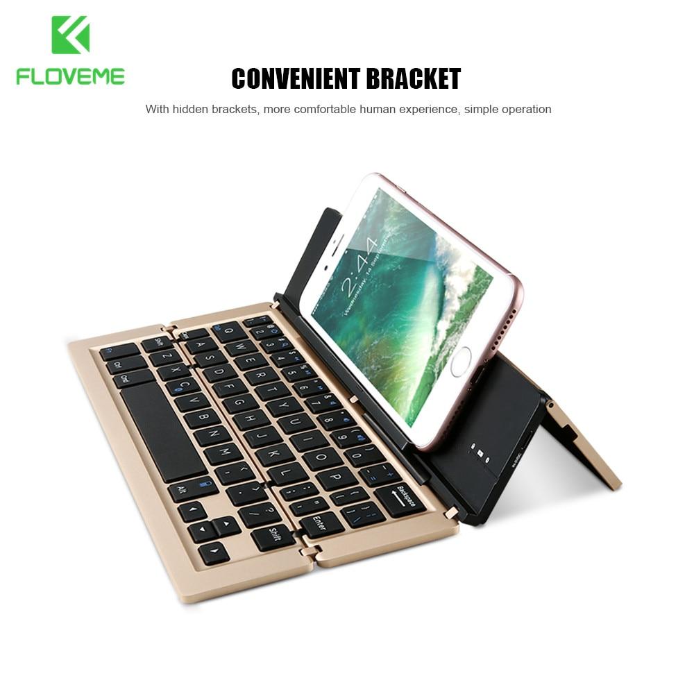 imágenes para FLOVEME Tabletas Universales Teclado Sin Hilos de Bluetooth Para el iphone 6 7 6 s 7 Plus 5S SE Para el ipad de Aire 1 2 Soporte IOS Android Phone