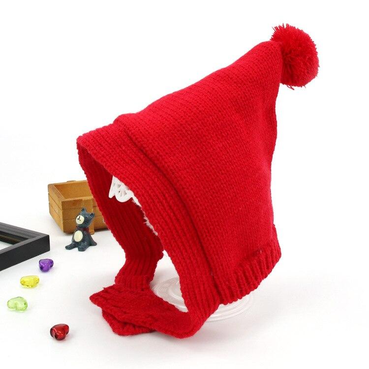 Unisex Child Beanies Baby Pointed Knit Bobbles Earflap Ear Hats Kid Winter Warm Add Velvet Earmuffs Caps MZ5350