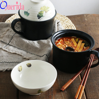 New Rice Bowl Instant Noodle Bowl With Lid With Handle Ceramic Large Ceramic Food Container Salad Soup Fruit Bowl