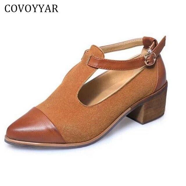 c712e36492 COVOYYAR 2018 Do Vintage Oxford Sapatos Mulheres Dedo Apontado Cortar  Calcanhar Med Patchwork Fivela Sapatas Das