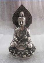 The ancient Chinese sculpture silver plated copper guanyin lotus carving