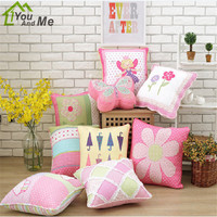 50cm Square 100 Cotton Quilt Grils Bedroom Sofa Decorate Pillowcase Flower Pattern Handmade Cushion Cover