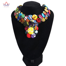 2018 Latest Bohemian Style Button Choker Necklace African Fabric Handmade Body Jewelry Necklaces & Pendants for Women BRW WYS23
