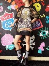 JST013 Thailand tide card printing decals in long sleeved T-shirt Eagle sequins polo shirt dresses/large size loose vest /2color