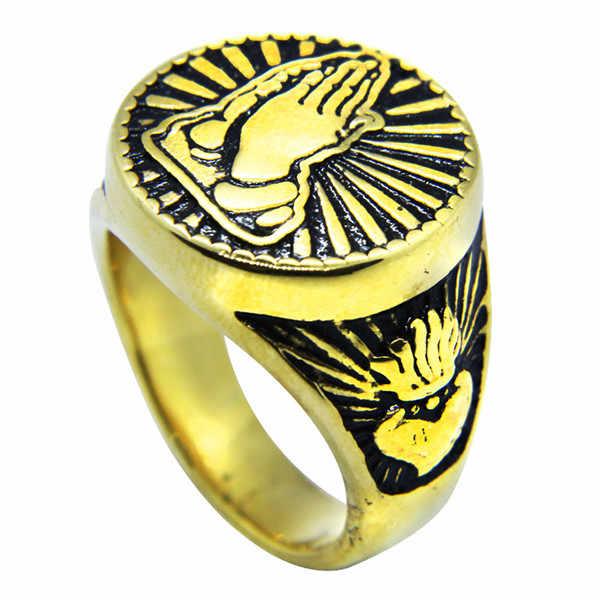 D rop s Hip 2018 Soildเปลวไฟรอบหัวใจซิลเวอร์โกลด์ของเราเลดี้มือแหวนสไตล์พังก์บุรุษสตรีเย็นBikerสวดมนต์มือแหวน