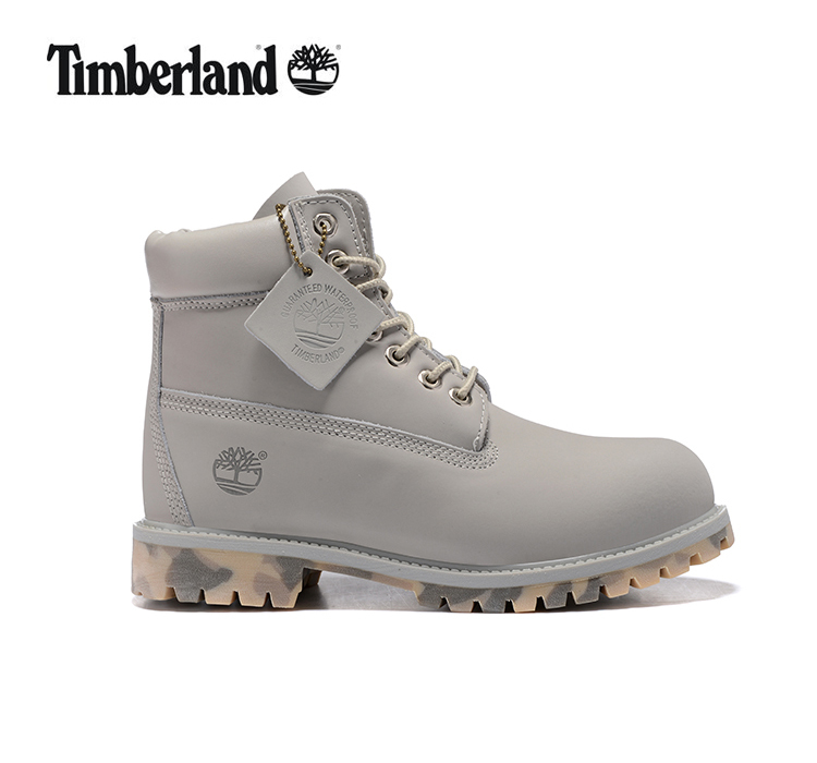 TIMBERLAND Men 10061 Military Camouflage Bottom Motorcycle Martin Boots,Man Leather Ankle Durable Gray and Red Casual Shoes