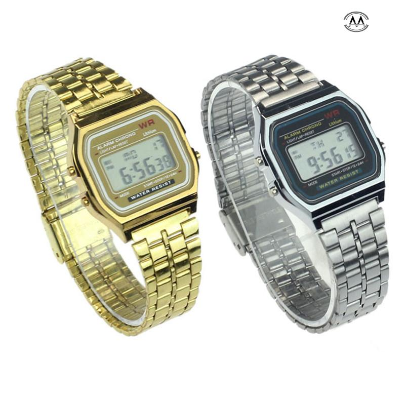 Vintage Womens Men Stainless Steel Digital Alarm Stopwatch Wrist Watch Mens Watches Top Brand Luxury Watch Men Stopwatch