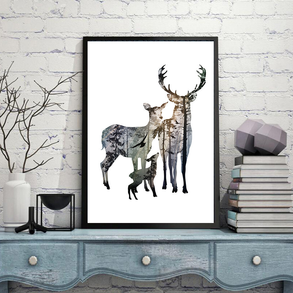Frameless Nordic style Europe Deer Painting Painting waterproof Kits On Canvas home decor Oil Painting Wall Artwork frameless canvas print of words home wall decoration