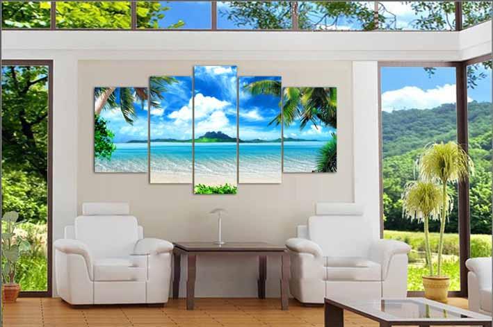Azure Sky Ocean White Clouds Coconut tree-1