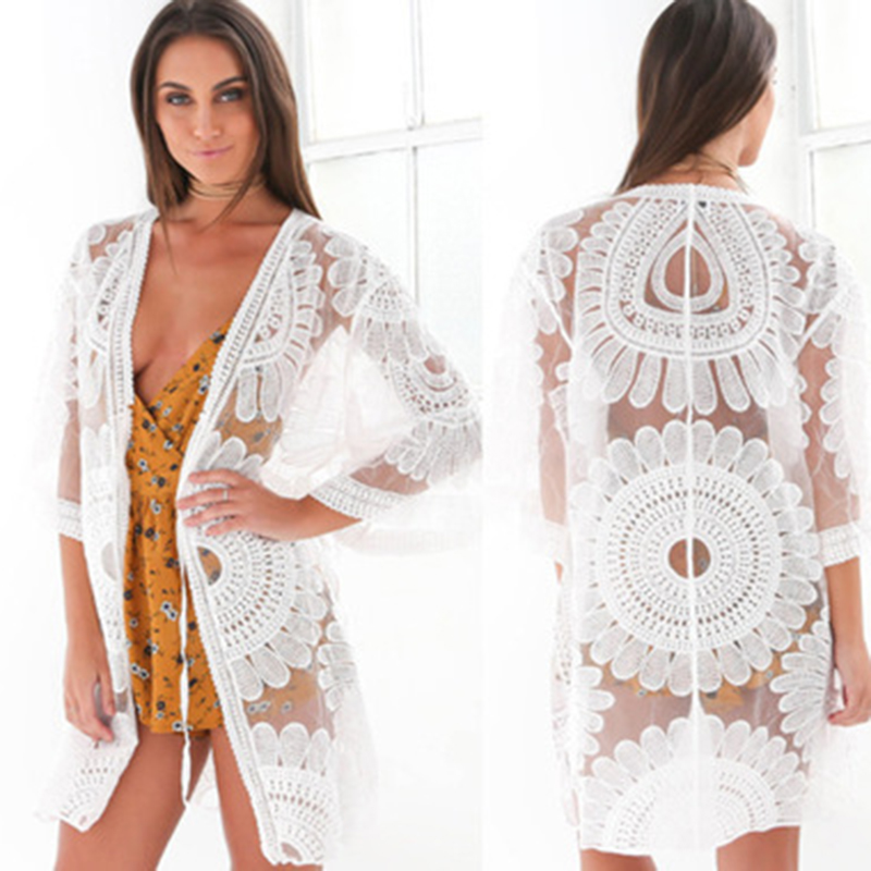 Sexy Sarongs Bikini Beach Tunic Crochet Beach Cover Up Bathing Suit Plus Size White Robe De Plage Swimsuit Women Cover-Ups pareo 3