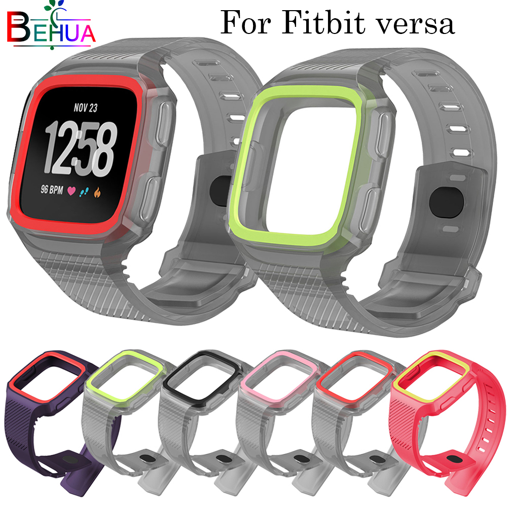 2in1 TPU strap+frame for Fitbit Versa Smart Watch Protective Bracelet watchband Wristband straps Accessories