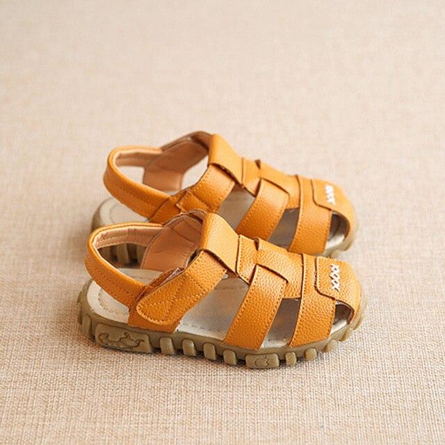 New Spring Summer Shoes Boys Soft Leather Sandals Baby Boys Summer Prewalker Soft Sole Genuine Leather Beach Sandals CSH130