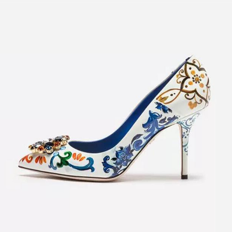 2019 New fashion designer shoes colored flower print high heels crystal embellished pointy stiletto pumps women