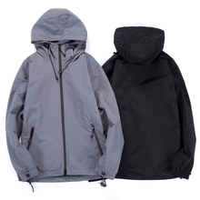 Spring jacket men Regular Casual Coat  Men Hooded Jacket Adjustable Waist Hat Classic Windbreaker Clothes Gray Black