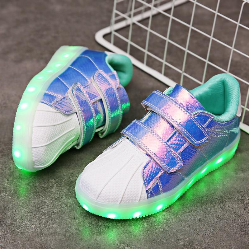2018 New Pink Kids Led USB Charging Glowing Sneakers Children Hook Loop Fashion Luminous Shoes For Girls Boys Men Women #25-36