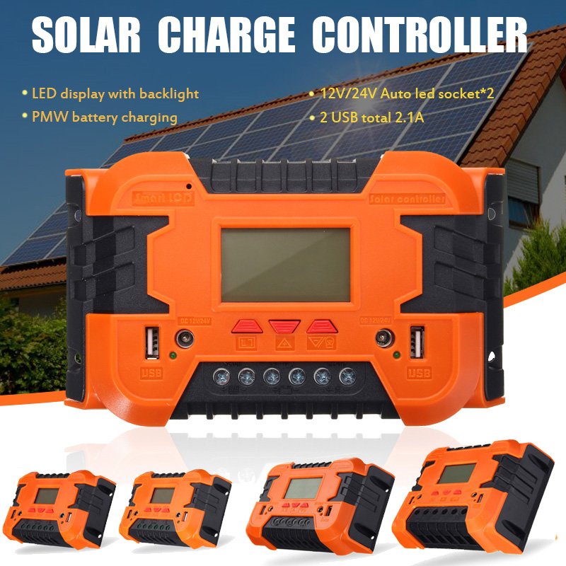 PWM10A/20A/30A/40A/50A/60A 12V/24V Auto Solar Panel Battery Charge Controller LCD Display Backlight Solar Collector RegulatorPWM10A/20A/30A/40A/50A/60A 12V/24V Auto Solar Panel Battery Charge Controller LCD Display Backlight Solar Collector Regulator