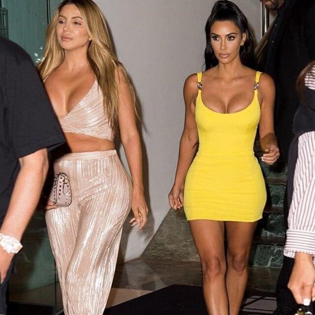 Kim Kardashian Outfit Sexy Tight Sling Strapless Dress 3