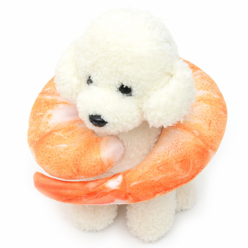 New Plush Pet Toys Shape of U shaped Prawns Supplies Neck Protection Squeak Toys Sleepig Toys Pet Supplies Dogs Accessories in Dog Toys from Home Garden