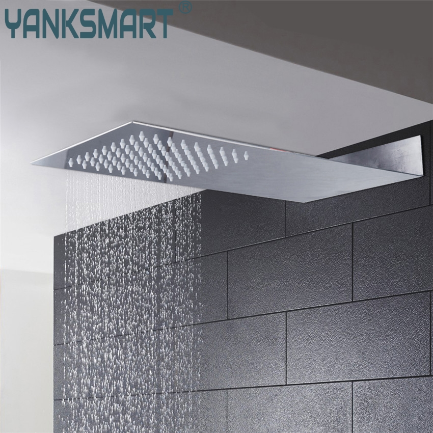 YANKSMART Super Thin Perfect Luxury Hot Sale Square Rain Shower Head Wall Ceiling Mounted Top Over-head Shower Sprayer luxury led color changing golden brass rain round shower head wall mounted over head sprayer
