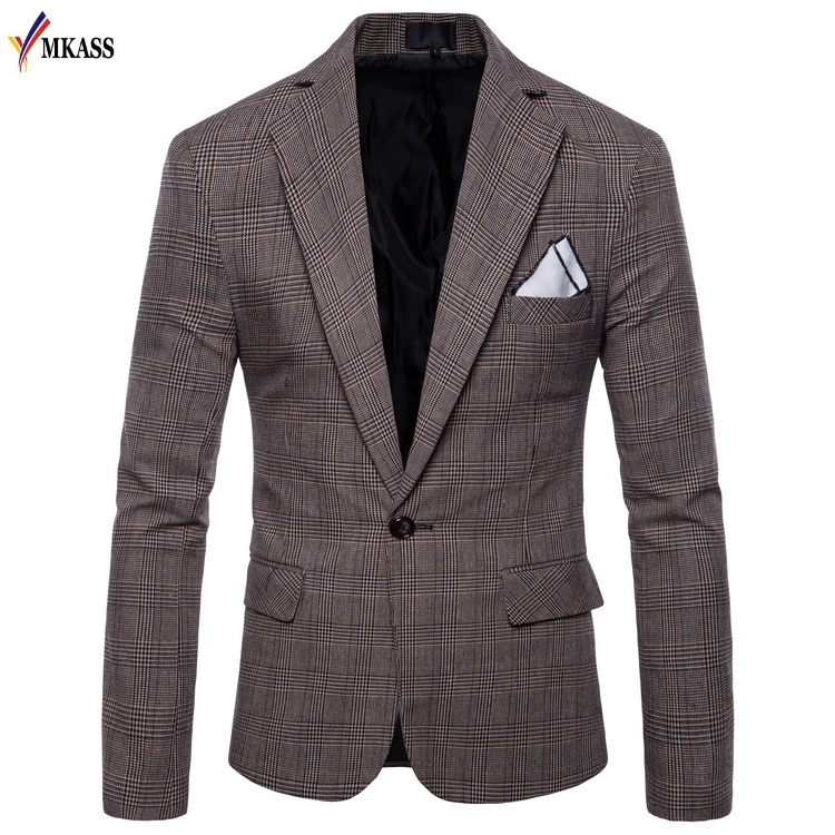 2018 New Brand Men Business Suit Classic Male Single Buttons Cotton Grid Suits Blazers Luxury Formal Casual Blazer Homme 4XL