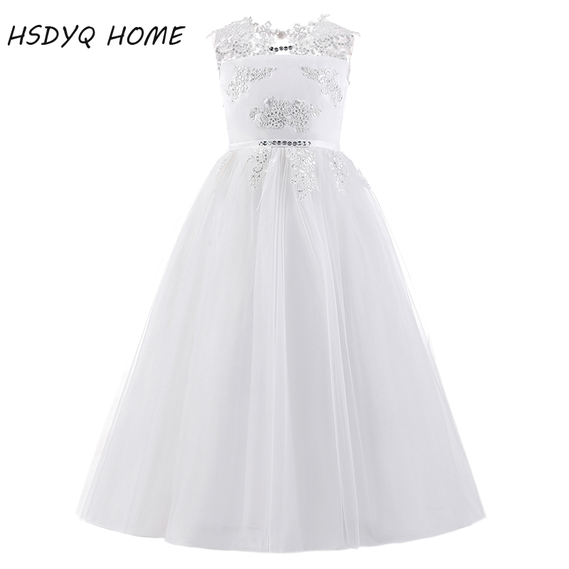 New Arrival Lace Ball Gown   Flower     Girl     Dresses   Long Princess bow floor-length   Girls   party   Dresses   2017 Free shipping