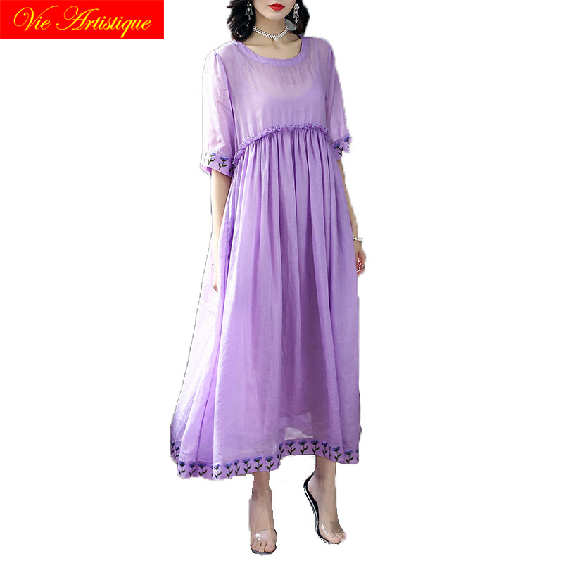 floral linen summer dress robe femme ete 2018 maxi women dresses beach long sexy boho pl ...