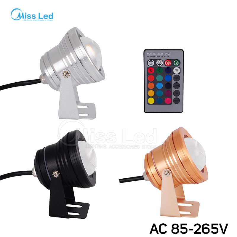 AC85-256V 10W LED Underwater RGB/White/Warm/Red/Blue/Green foco Convex Glass Floodlight Swimming Pool Spot Light IP68 Waterproof