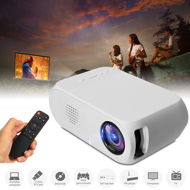 Big Sale YG320 1080P Mini Portable LED Projector 4000 Lumens 23 Languages Home Theater Can read U disk TF card AV connection DVD box