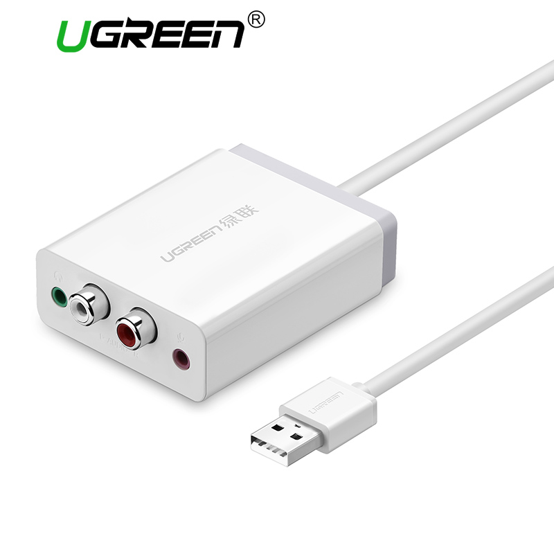 Ugreen 2 RCA tarjeta de sonido USB de interfaz de Audio de 3,5mm adaptador USB a micrófono altavoz para ordenador portátil de sonido externa tarjeta de