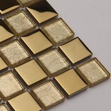 gold electroplating crystal glass mosaic tiles EHM1048 for kitchen backsplash tile bathroom shower mosaic tiles wall cover