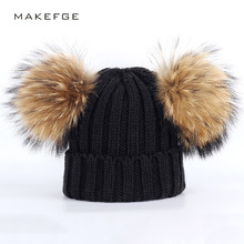 Winter children fashion raccoon fur Double pom poms new boy warm hats knit thick caps crochet bone comfortable solid girls baby недорго, оригинальная цена