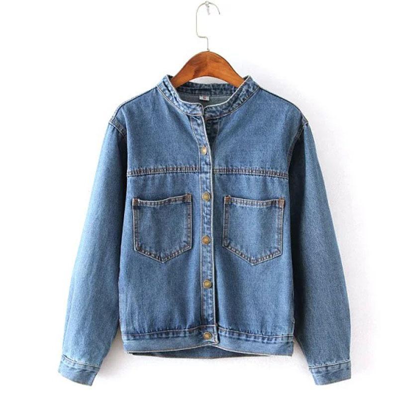Autumn 2018 jean jacket for women fashion pocket design long sleeve coat female new arrival slim solid denim jackets outerwear