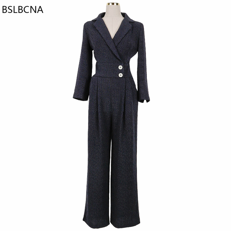 2018 automne nouveau Style coréen une pièce vêtements OL tempérament à manches longues rayé affaires pantalon large jambe femmes combinaison A269