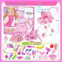 Intelligente Baby Doll Simulazione Bere Pipì Sonno Del Bambino Ragazze Giocare giocattoli Pretend Gioca Mobili Giocattoli Tempo del Pasto Accessori Gift Set Box