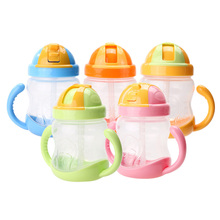 280ml Cute font b Baby b font Cup Kids Children Learn Feeding Drinking Water Straw Handle