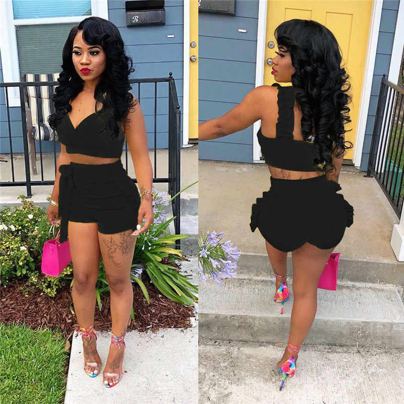 Vrouwen Tweedelige Set voor Streetwear Ruches Decor V-hals Mouwloos Backless Effen Kleur Korte Top + Hoge Taille Bandage Shorts