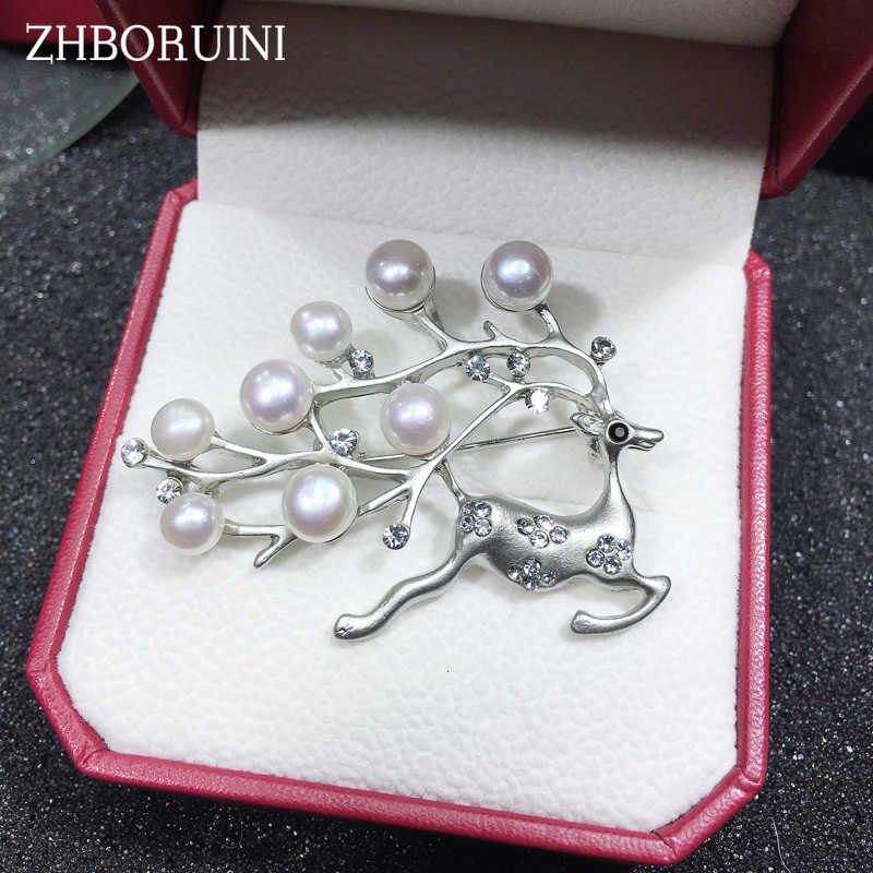 ZHBORUINI 2019 New Natural Pearl Brooch Elk Deer Pearl Breastpin Freshwater Pearl Jewelry For Women Christmas Gift Accessories