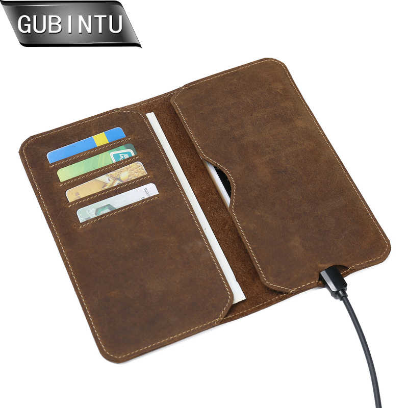 Gubintu Crazy Horse Dompet 2018 Baru Pria Dompet RFID Blocking Kredit ID Kartu Dompet Ponsel Case Pemegang Ponsel dompet Carteira