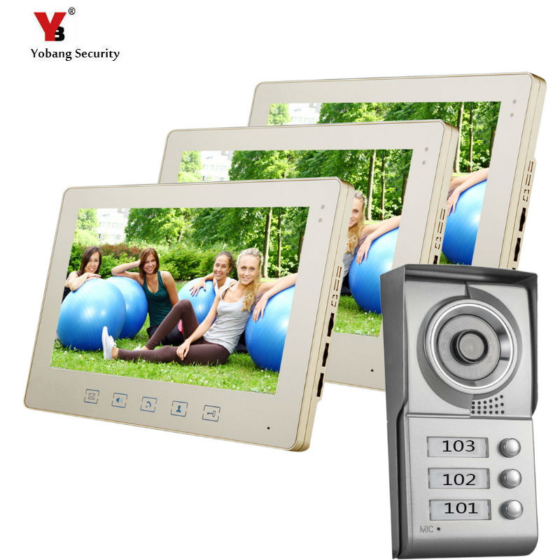YoBang Security 10inch Color Video Door Phone Intercom System Video Intercom Apartment Intercom System For 3 House Free Shipping