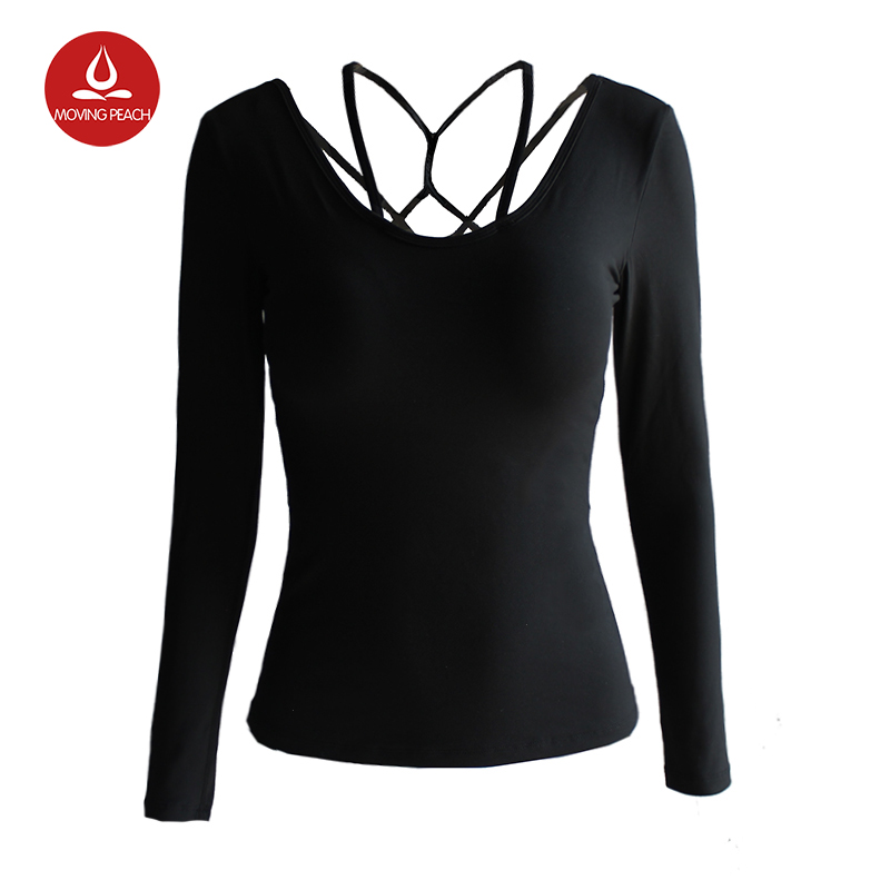font b Women s b font Sports Aerobics Yoga Shirts Sexy Mesh Patchwork Long Sleeves