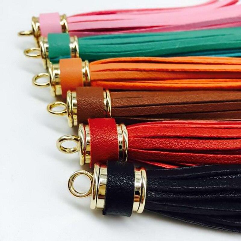 Fashion Pu Leather Tassel Keychain Leather Alloy Trinket Car Key Chain Gift Women Bag Charm Key Ring Keys Accessories Pendant 35
