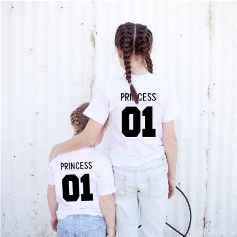 Girls Tops Prince-Print T-Shirt Short-Sleeve Kids Clothing Boys Summer Letter