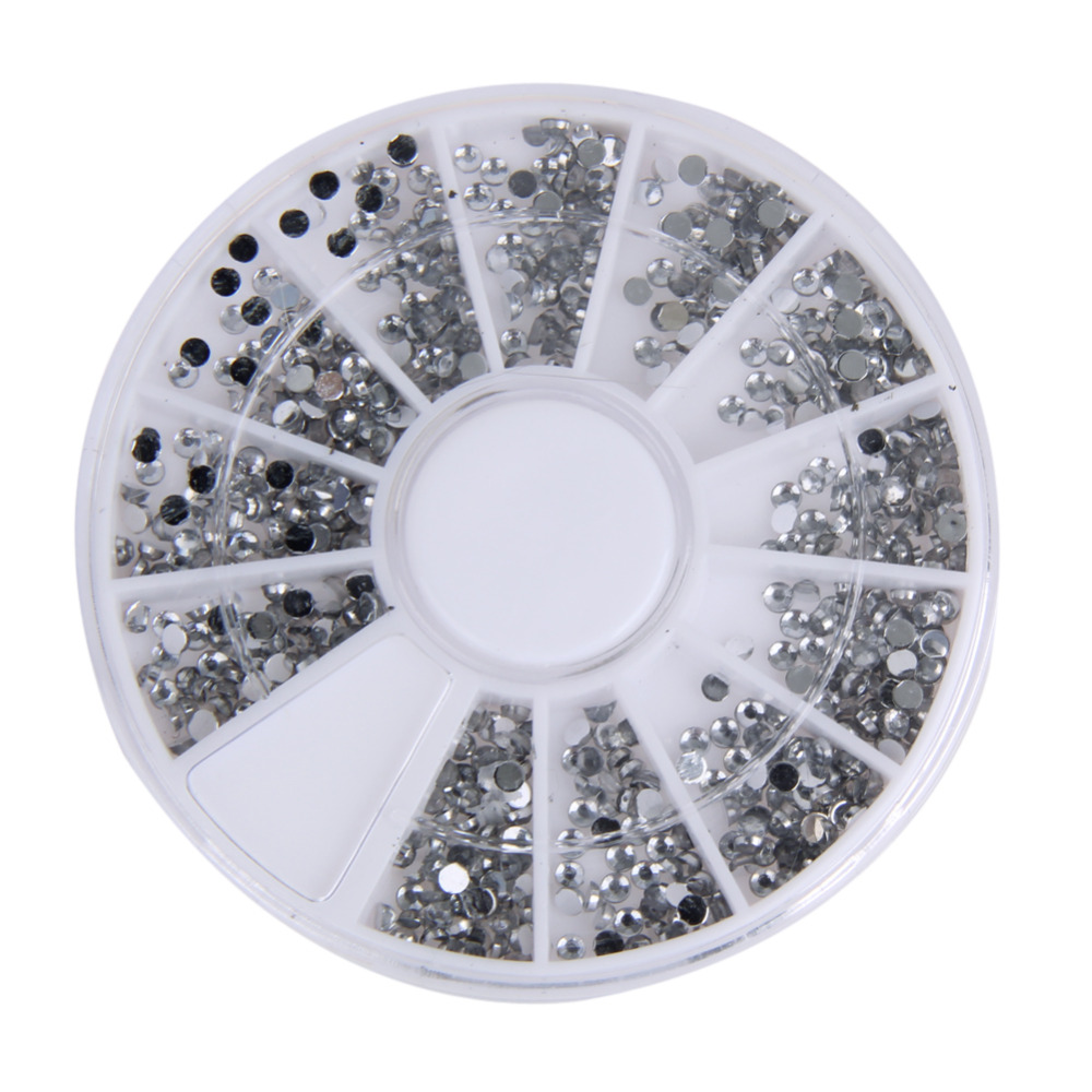 2000 PCS 1.5mm Round Nail Art Rhinestones Nail Diamond Sticker Nails Wheel Clear Transparent 3D Nail Manicure DIY Decorations