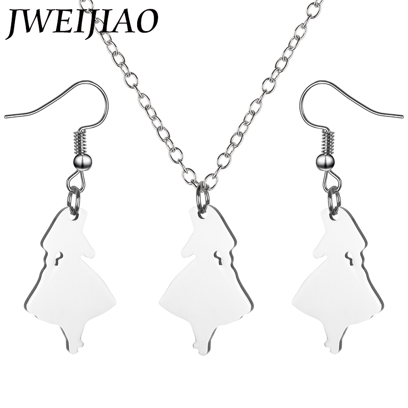 JWEIJIAO Snow White Grils Pendant Necklace Earrings Jewelry Sets Trendy Women Girls Party Birthday Gift Jewelry Suit Sku04