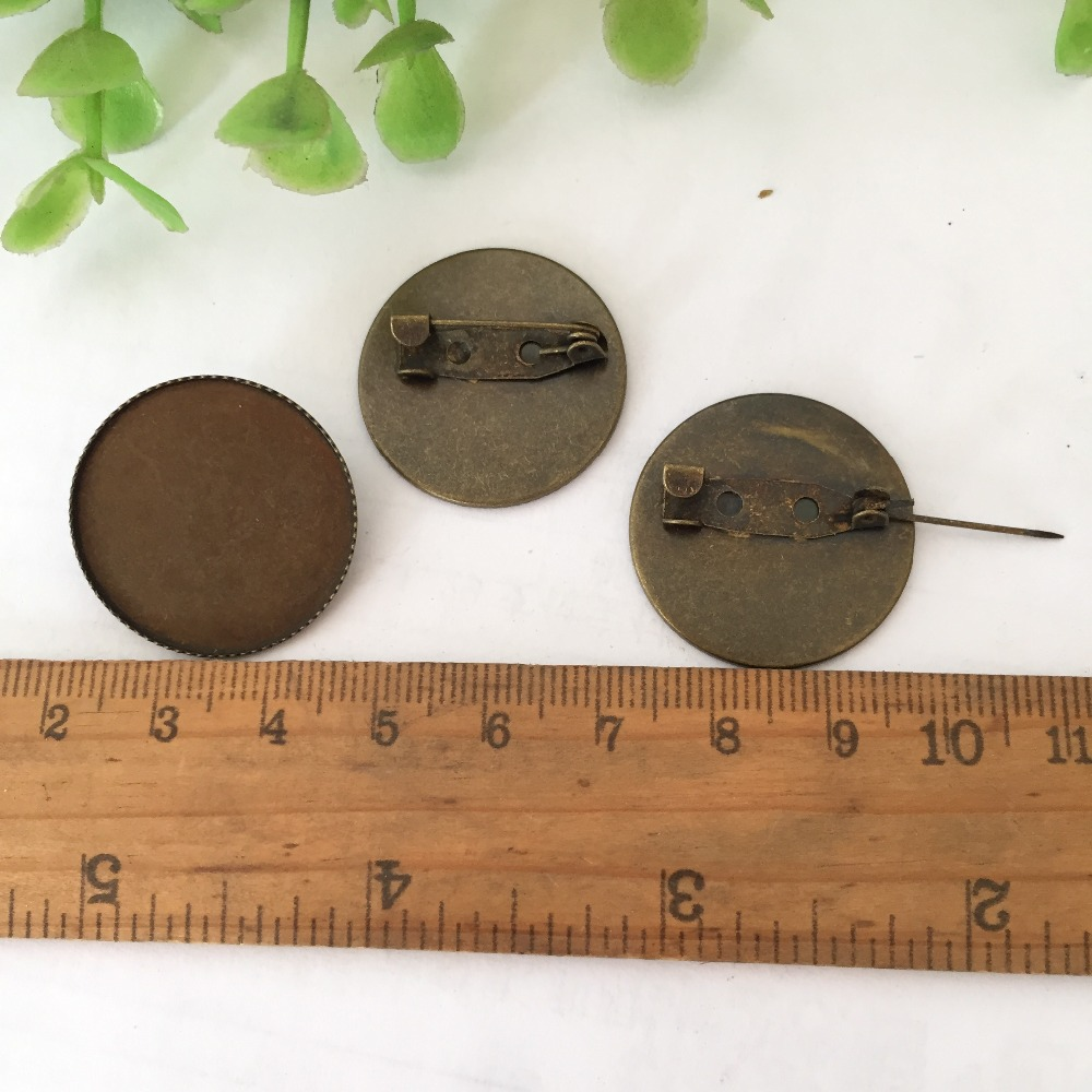25mm antique bronze Brooch Base with Safety Pins DIY Jewelry Findings Accessories